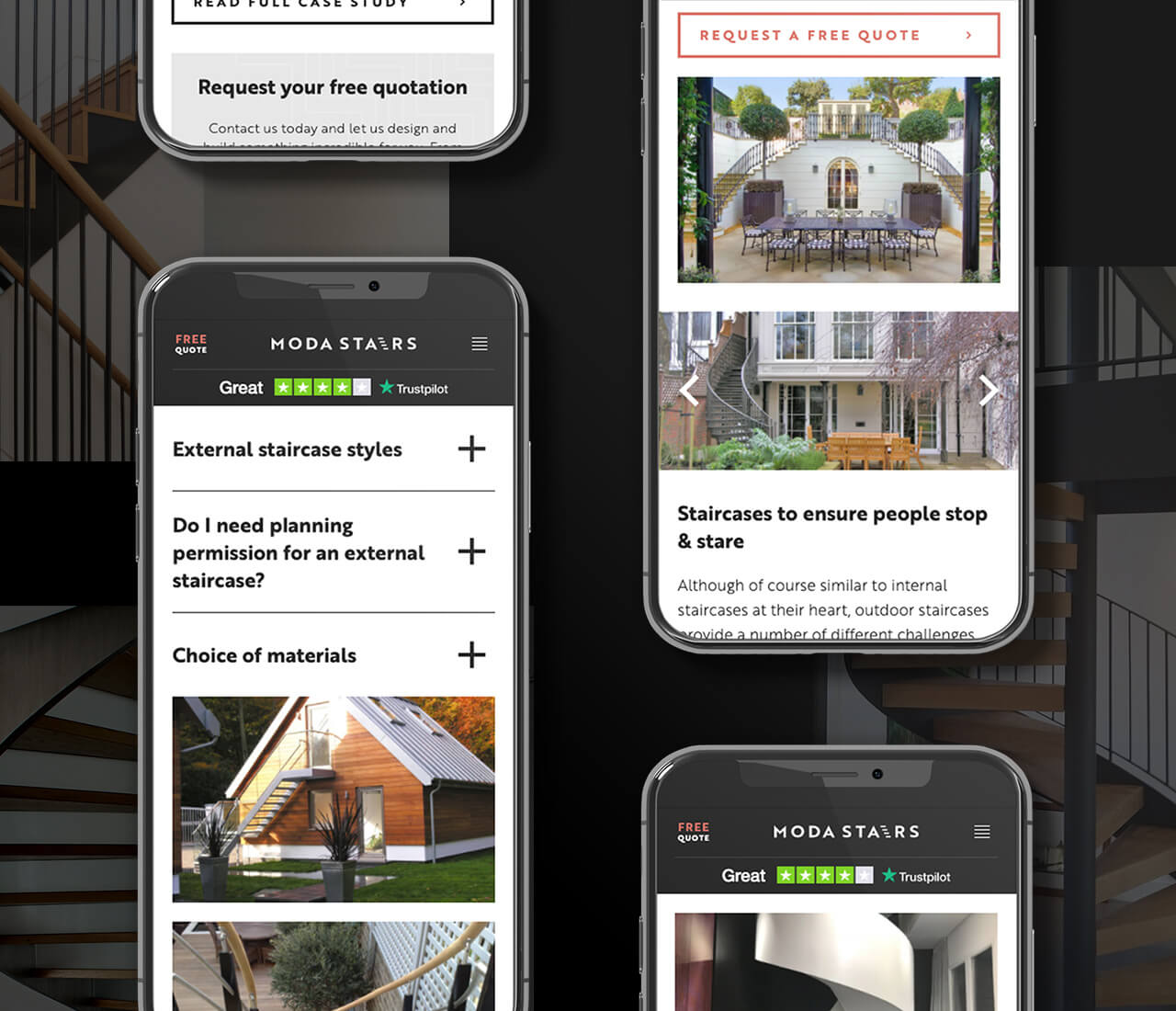 responsive website designs for moda stairs
