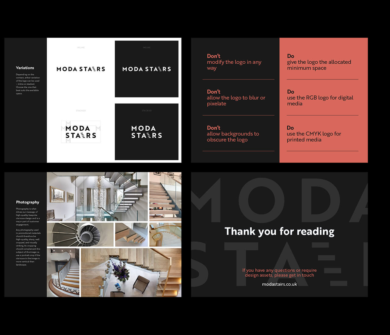 brand guidelines designs for moda stairs