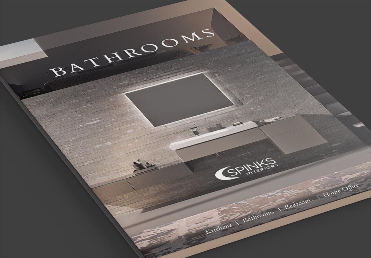a printed folder design for spinks interiors