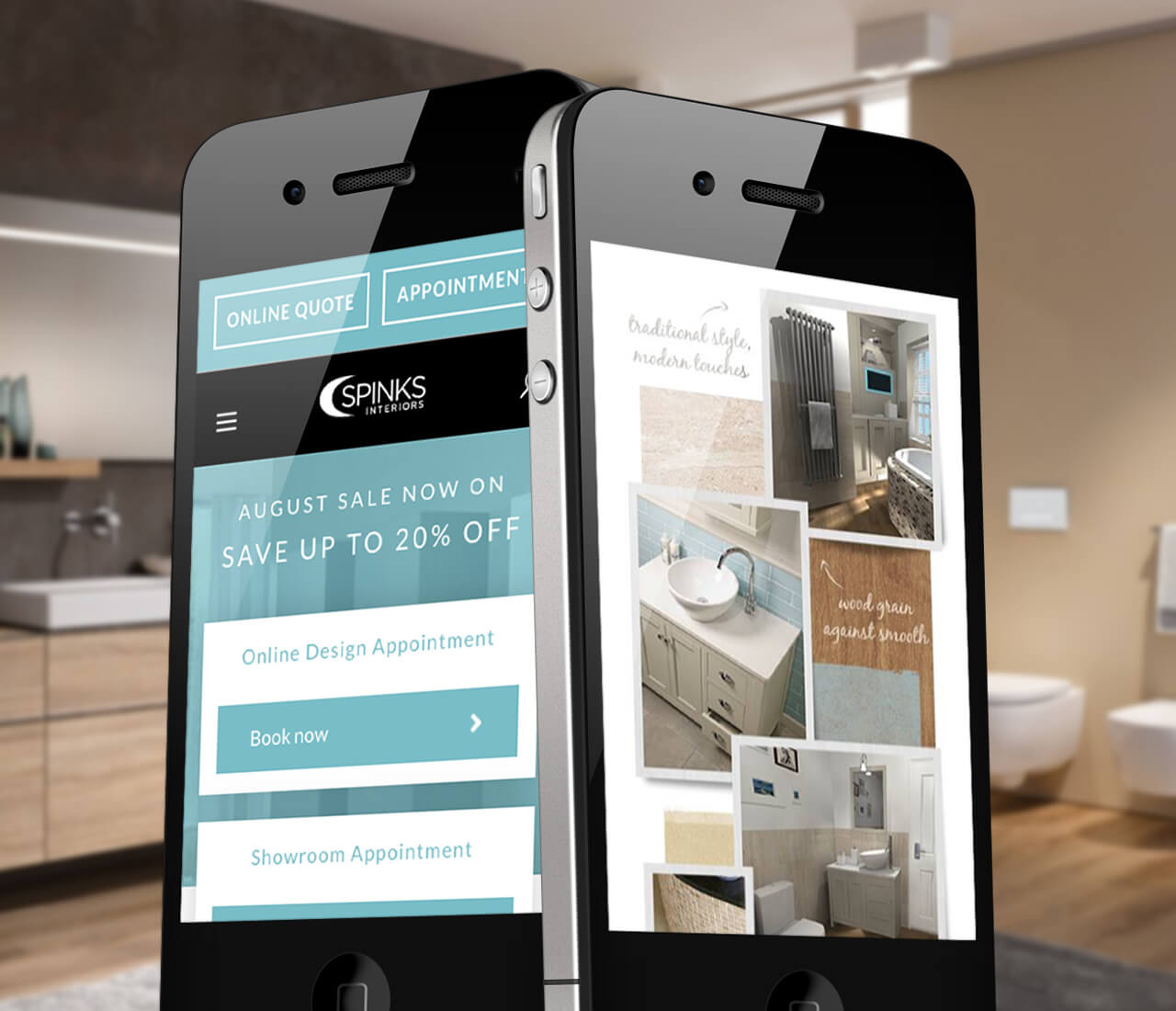 two smart phones showing the mobile-friendly spinks interiors website