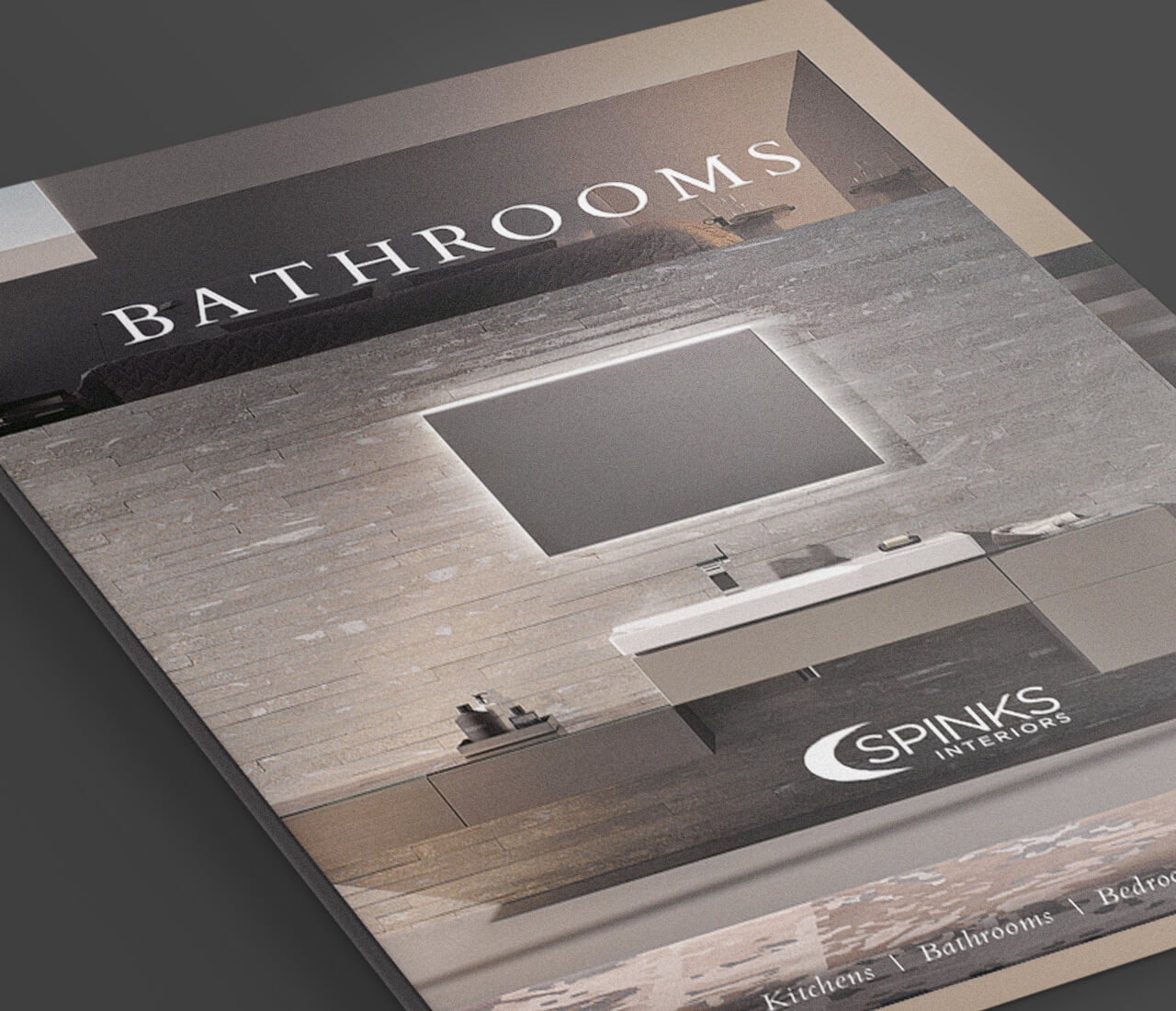 the spinks interiors folder showing high quality print design